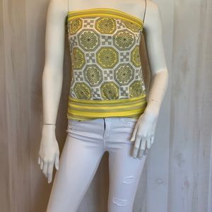 Trina Turk yellow strapless printed top small